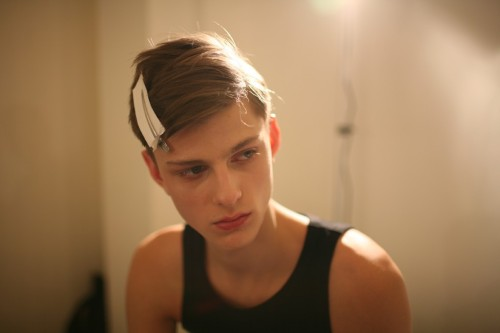 minteeown:  Elvis Jankus backstage at Prada F/W 12