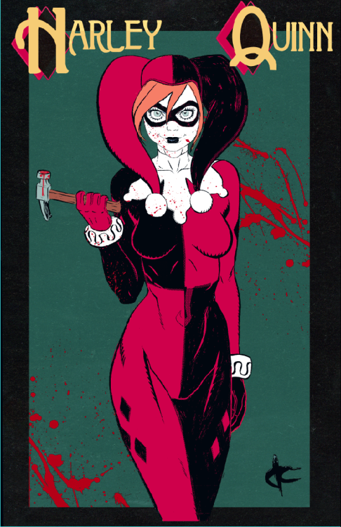 justincoffee:  Another convention print! I wanted to do a Harley Quinn to go with the Poison Ivy I did.  -Justin