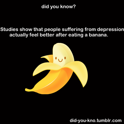 onefitmodel:  this is 100% true. bananas are depression fighting!