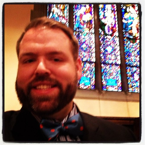 Rehearsal for Kelly's wedding. #bowtie #stainedglass #boston #bostoncollege #wedding #opulencerealness (at St. Ignatius Church)