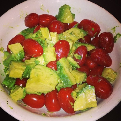 My grandma made the best side dish tonight & it's so simple! Avocado, cherry tomatoes, and a little bit of sea salt! I'm going to add pepper and maybe some olives when I make this but omg yum!
