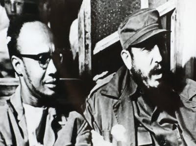 Amilcar Cabral, co-founder of the African Party for the Independence of Guinea and Cape Verde (PAIGC), with Fidel Castro, former President of Cuba and Secretary General of the Communist Party of Cuba.