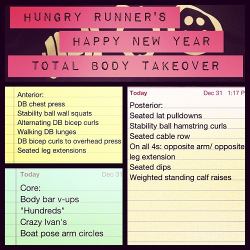 Ok Hungry Runners! Here's what my last and final workout of 2012 looked like. It's split between anterior and posterior muscles. (Anterior muscles are muscles that are part of the front of the body. Posterior muscles are part of the back of the body.) Start with the anterior circuit, do 20 reps of each exercise. Repeat it twice. Then move to the posterior circuit and do the same. After you've completed both twice, repeat each circuit once more through, back to back, for 3 total circuits of each. Then move onto core. Repeat that circuit 3 times. So it should be like this : Anterior X2, Posterior X2, Anterior, Posterior, Core X3. I realize not all of you will know exactly what every one of these exercises are but don't worry! I plan on making a YouTube video where I'll walk you through this entire workout very soon! So, if you can't do it on your own now, soon you'll be able to do it with me!   Now, you have about 7 or so hours left to be your best in 2012. So, get to work and work hard so you'll stay motivated starting today and all the way through 2013.