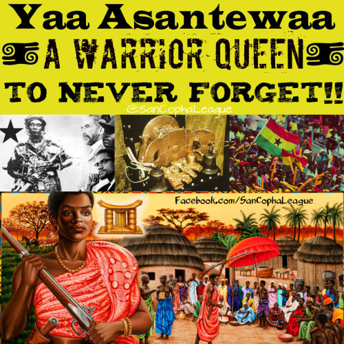"sancophaleague:   Yaa Asantewaa is one of the most courageous and revolutionary women I know. A Mother, a Warrior, and a Queen who loved her land just as much as her people. During the reign of the Asante Empire, Britain began to invade and control many of the African territories. They would exile many powerful African Kings which would lead to the destruction of the people and land. The British were known to abuse, rape, and kill many Africans and would steal the most valuable treasures in the land. Many of which have not been recovered to this very day. Two of these African rulers who would be exiled would be Queen Asantewaa's Grandson and the King of the Asante Empire. This did not sit well with many but they felt powerless. To make matters worse, the British Governor, who referred to himself as ""General of Ghana"", demanded the Asante Golden Stool. The Golden Stool was a symbol of the spirit of the Asante people. It was a Spiritual gift that Britain had no right to claim. At a conference, Yaa Asantewaa gave a speech that would shake the nation. She said, ""Is it true that the bravery of the Ashanti is no more? I cannot believe it. It cannot be! I must say this: if you the men of Ashanti will not go forward, then we will. We the women will. I shall call upon my fellow women. We will fight the white men. We will fight till the last of us falls in the battlefields."" After the speech, she would lead one of the largest rebellions against the British colonial powers and the last major war led by African Woman.It is very important to know the contributions of Black woman like Yaa Asantewaa throughout history so that we may never grow ignorant of our Women's worth. Queen Nana Yaa Asantewaa is an inspiration to people everywhere that courage is the most important virtue a person can possess. Written by @KingKwajo"