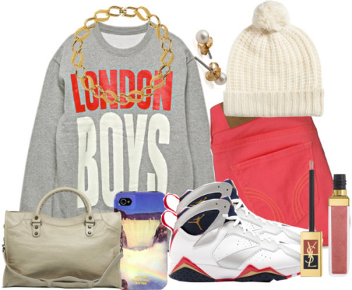 London Boys :) by memelovely featuring summer shoes ❤ liked on PolyvoreCotton shirt, $92 / Hollister Co. neon jeans / Summer shoes / Balenciaga vintage bag / Susan Caplan Vintage braided necklace, $135 / American Apparel  / Oasis beanie hat / Jack Spade  / Yves Saint Laurent lip makeup