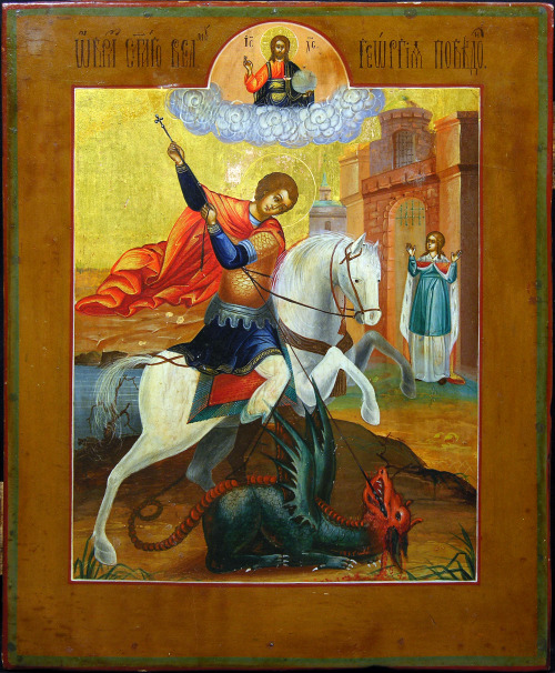 Saint George the Great-martyr and Trophy-bearer (commemorated on Easter Monday) The holy, glorious and right-victorious Great-martyr and Trophy-bearer George was a Christian Roman soldier killed under Diocletian at the beginning of the fourth century. Though he was born in Cappadocia, his mother was from Palestine, and thus he is a particular favorite of many Palestinian Christians. He is also the patron saint of Moscow, Georgia, and England, amongst other places. The Church commemorates George on April 23, and the translation of his relics on November 3. According to Tradition, George was born to a Christian family during the late 3rd century. His father was from Cappadocia and served as an officer of the army. His mother was from Lydda, Palestine. She returned to her native city as a widow along with her young son after the martyrdom of George's father, where she provided him with a respectable education and raised him in piety. The youth, it would seem, followed his father's example in joining the army soon after his coming of age. He proved to be a charismatic soldier and consequently rose quickly through the military ranks of the time. By his late twenties he had gained the titles of tribunus (tribune) and later comes (count). By that time George had been stationed in Nicomedia as a member of the personal guard attached to Roman Emperor Diocletian (reign 284–305). In 303, Diocletian issued an edict authorising the systematic persecution of Christians across the Empire. His caesar, Galerius, was supposedly responsible for this decision and would continue the persecution during his own reign (305–311). It is believed that George was ordered to take part in the persecution but instead confessed to being a Christian himself and criticised the imperial decision. An enraged Diocletian proceeded in ordering the torture of this apparent traitor and his execution. Then, after innumerable forms of torture, George was executed by decapitation in front of Nicomedia's defensive wall on April 23, 303. The witness of his suffering convinced Empress Alexandra and Athanasius, a pagan priest, to also become Christians, and so they also joined George in martyrdom as consequence. George's body was then returned to Lydda for burial, where Christians soon came to honour George as a martyr.