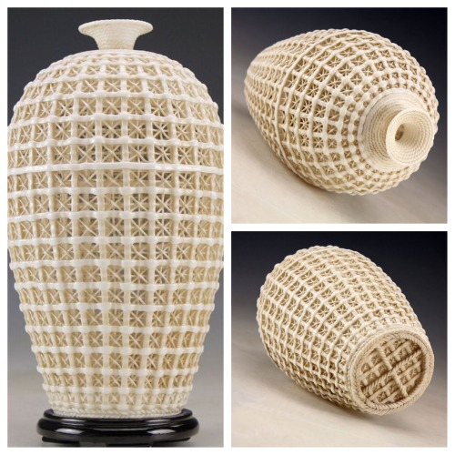 comedycsi:  Stunning hand-carved open-work porcelain vase, C21st. (30cm tall, 15cm diameter). Offered for sale on eBay at a ludicrously low price so I suspect they are selling plastic casts of the original. However, to make a high quality cast of an open-work vessel would take great skill too. Very, very impressive.