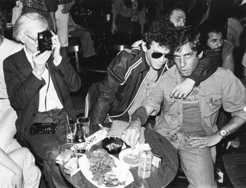 Andy Warhol and Lou Reed with Danny Fields at a David Johansen show at the Bottom Line, NYC, photo by Ebet Roberts, 1978