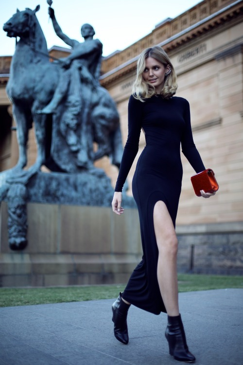 what-do-i-wear:  Asos dress, Jimmy Choo boots and clutch, Ryan Storer ear cuff, Jacquie Aiche finger bracelet and rings, Ilena Makri rings (image: tuulavintage)
