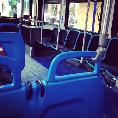 I'm on an empty (!) #66 bus on Chicago avenue this morning. What's doubly rare is that it is one of the giant articulated ones too.  (at CTA Bus #66: Chicago & Damen)