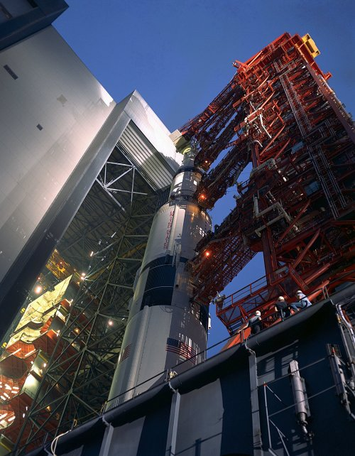 spacewatching:  On September 8, 1969, a transporter carried the 363-foot-high Apollo 12 Saturn V space vehicle from the Vehicle Assembly Building's High Bay 3 at the start of the 3.5 mile rollout to Launch Complex 39A. The transporter carried the 12.8 million pound load along the crawlerway at speeds of less than one mile per hour.