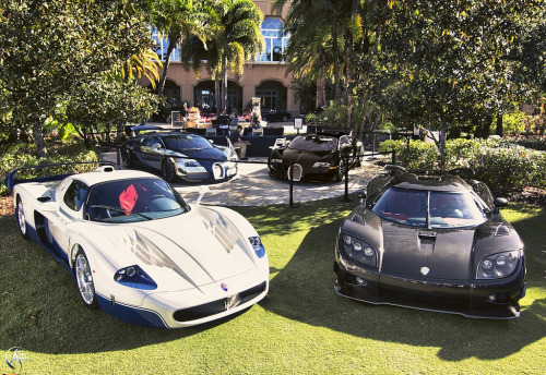 Just like the Playboy Mansion Starring: Maserati MC12, Koenigsegg CCXR, Bugatti Veyron Sang Blue and Sang Noir (by Savage Land Pictures)