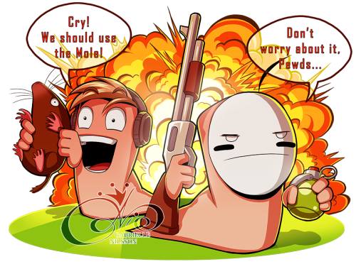 pewdie:  gabbi-ness:  Pewdiepie & Cry ♥ WORMS- YOUTUBE + DEVIANTART -  Woah, this is great :D