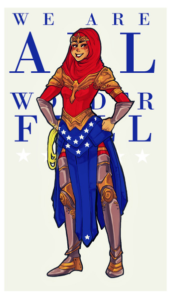 falloutgirlongirl:  we are all wonderfula series that aims to redesign wonder woman as women from all around the world; as every woman there is out there. part i: hijabi wonder woman. prints avaliable for sale at storenvy!