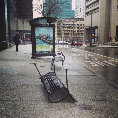 franksandbeanz:  Go home, bench. You're drunk. (at Downtown Baltimore City)  Flipping Lombard Street at Charles StreetMTA Maryland Route 10/WB/Paradise LoopMarch 25, 2013 / 39­° F/ Light Rain |reblog|