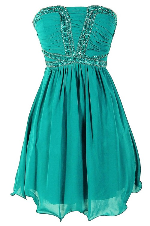 Emerald City Sparkle Embellished Chiffon Designer Dress Lilyboutique.com - $72.00