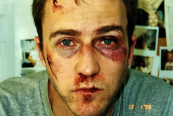 Edward Norton on the set of Fight Club, 1999.