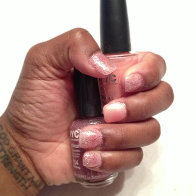 cute nails don't have to be expensive! #nyc #nails #notd #recessionista #fashion #pink #pinkandglitter #pinkgoeswitheverything #nyccolor #nailpolish #tagforlikes