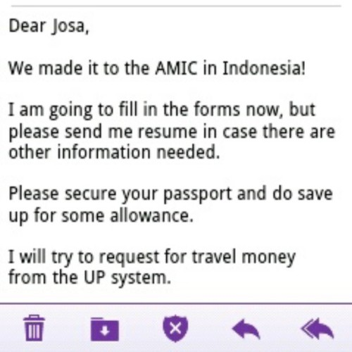 Best morning news, eveeeer! We are going to Indonesia! :DDD #thesis