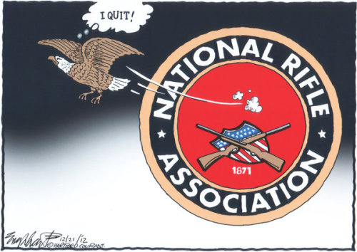 NRA Loses A Member by Bob Englehart (Hartford Courant) Related: Wayne LaPierre's Newtown statement pilloried by US newspapers