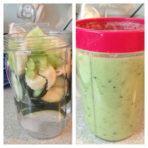 Hello, magic bullet!! Cucumbers, celery and a banana!!