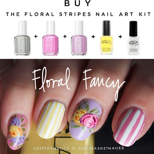 "New ""Floral Fancy"" nail art kit with Cult Cosmetics! Includes 5 polishes + a nail art brush to get the look. See it here. 💅"