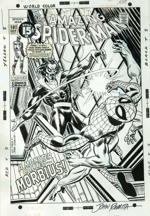 The cover to AMAZING SPIDER-MAN #101 by Gil Kane and John Romita.