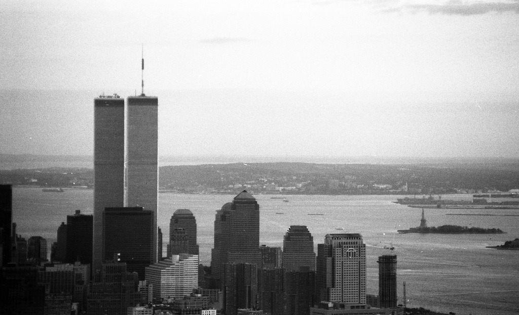 World Trade Center Buildings And Statue Of Liberty As Viewed From The Empire State Building; Black & White Film Photograph (by hogophotoNY)