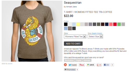 the Seaquestrian shirt is here!!(available in various colors. also as a print, iphone case and pillow case)buy here to celebrate your upcoming Spring break/summer:http://society6.com/Armanijane/Seaquestrian-b0K_T-shirt#11=49&4=135