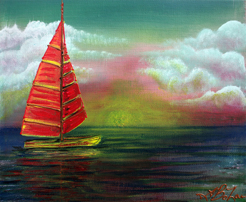Title: Sail The Horizon by Laura Barbosa Sailing along the horizon. 8 × 10″ Acrylics on Canvas. On Auction for * 7days * Win it for $9.99 Place a Bid Here