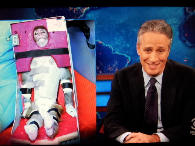 "Jon Stewart says Iran's space monkey did ""his best impression of Han Solo in carbonite."""