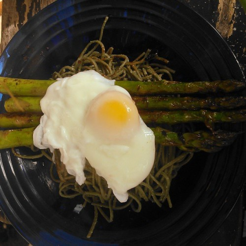 Easter meal: miso butter asparagus on soba, with a perfectly poached egg.