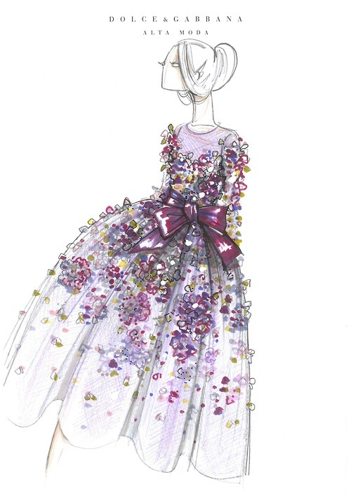 Dolce & Gabanna Alta Moda Fashion Sketch Fashion Sketch Art Illustration