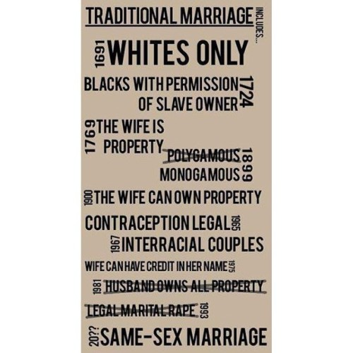 Traditional Marriage…what?! #tradition #traditional #marriage #marriageequality #noh8 #equality #women #humanrights