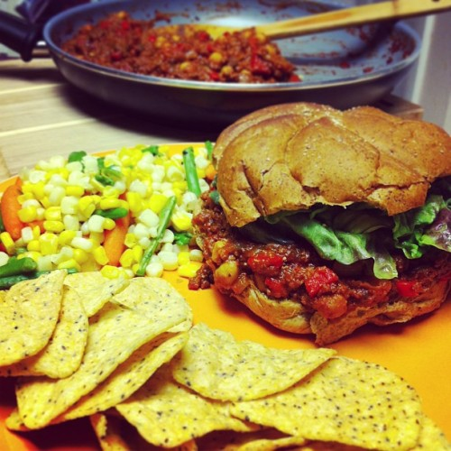 #vegan sloppy Janes with mixed veggies and Late July sub lime tortilla chips #whatveganseat