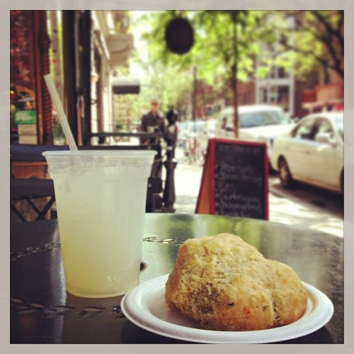 Lemonade + cheddar dill scone = west village happiness @poppakropp #welivehere (at Once Upon a Tart)