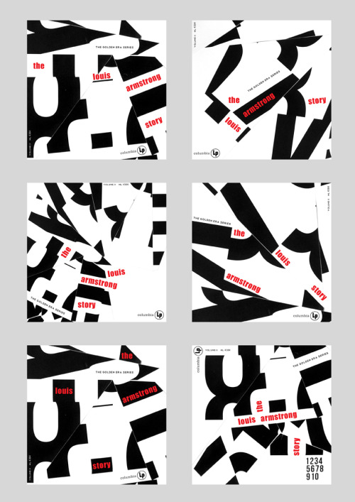 A Quick Task: Inspired by old jazz records.  A quick experiment re-designing an old Jazz LP using just type and letter forms. The background is from one of my recent hand-made type pieces. Trying to quickly come up with a number of different outcomes using the same set of components.  Original record design here: http://www.birkajazz.com/graphics2/armstrongStory.jpg