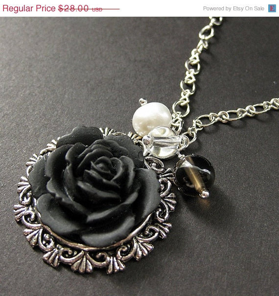 gilliauna:  MOTHERS DAY SALE - Widows Veil Gothic Inspired Black Rose Charm Necklace. Handmade Jewelry. by StumblingOnSainthood from Stumbling On Sainthood at http://etsy.me/IESkvM