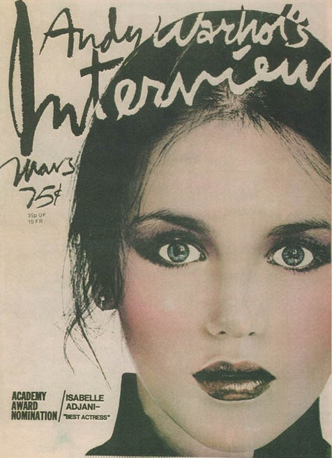 Isabelle Adjani on the cover of Andy Warhol's Interview magazine