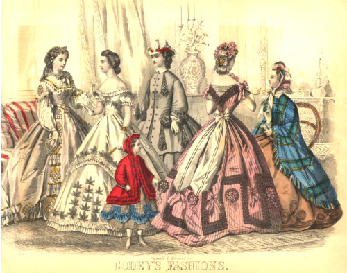 Civil War Era Fashion Plate - April 1864 Godey's Lady's Book Description of Steel Fashion-Plate for AprilFig 1 - Dinner-dress of rich pearl-colored silk, trimmed with ornaments formed of gold-colored chenille cord and chenille drop buttons and fancy plaitings of the silk, edged with chenille cord. The corsage is in the Pompadour style, and the sleeve consists of merely a jockey. Fancy white muslin guimpe and sleeves. Black lace coiffure, with barbe ends.Fig 2 - Evening-dress of heavy white corded silk, made with a tunic skirt. Both skirts are edged with a narrow ruffle and puff, and trimmed with black lace leaves. The corsage is made round, and trimmed to match the skirt.Fig 3 - Child's dress of checked silk, trimmed with shells of imperial blue silk. Red-riding-hood sack, made of scarlet flannel, and trimmed with a plaiting of ribbon and narrow black velvet.Fig 4 - Walking-dress of smoke-gray poplin. Both dress and sack are trimmed with rich gimp ornaments. Chip hat, trimmed with scarlet velvet and white plumes.Fig 5 - Rich lilac robe silk, woven with a fancy black lace design on the skirt. Sash of white silk, trimmed with black velvet. The corsage is cut in a point both back and front, to show the fancy white muslin chemisette. The hair is rolled in front, and arranged in waterfall style, and puffs at the back. Wreath of lilac velvet flowers, with a long spray on the left side.Fig 6 - Walking-dress of brown alpaca, braided on the edge of the skirt with black braid. Fancy plaid wrap, trimmed with chenille fringe. Peach blossom silk bonnet, trimmed with white lace and cherries for the inside trimming.