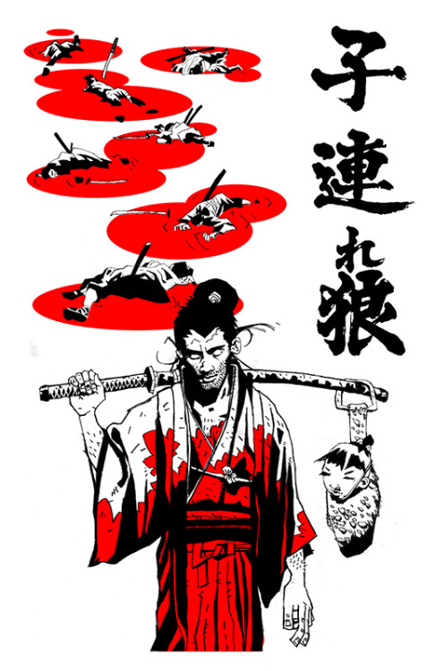 "Lone Wolf and Cub by Tomas Overbai / Tumblr 11"" X 17"" 2 colour screen print, S/N edition of 50. Available via Rosebud Twelve / Tumblr, on 19th January 2013 from 19.00pm to 21.00pm HERE."