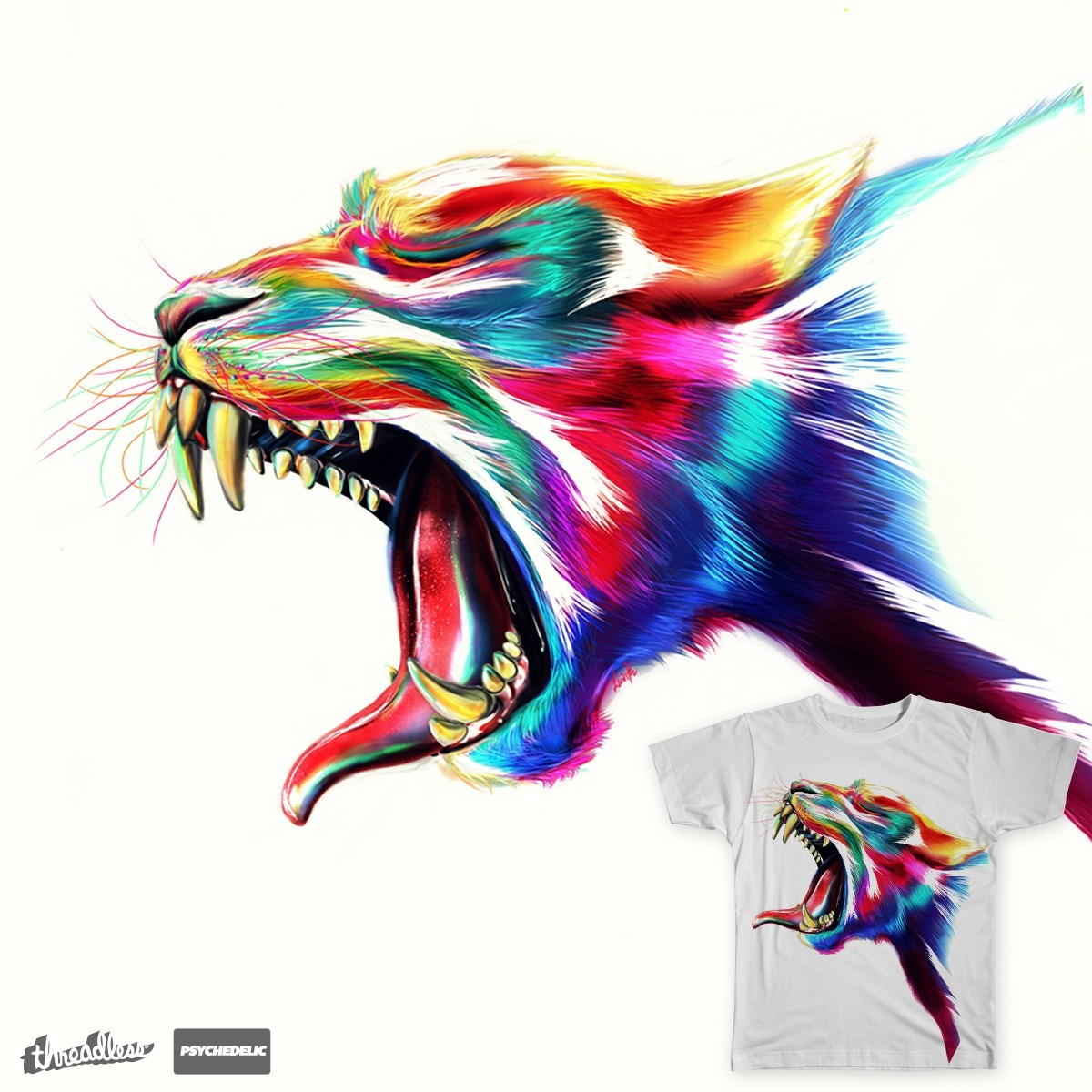 """""""Roarme"""" by Liark2zfor the Psychedelic design challenge. Needless to say, this design is mind-bendingly awesome."""