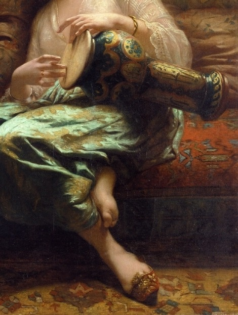 quim3ra:  Algerian woman playing a darbouka (detail) - Charles Landelle