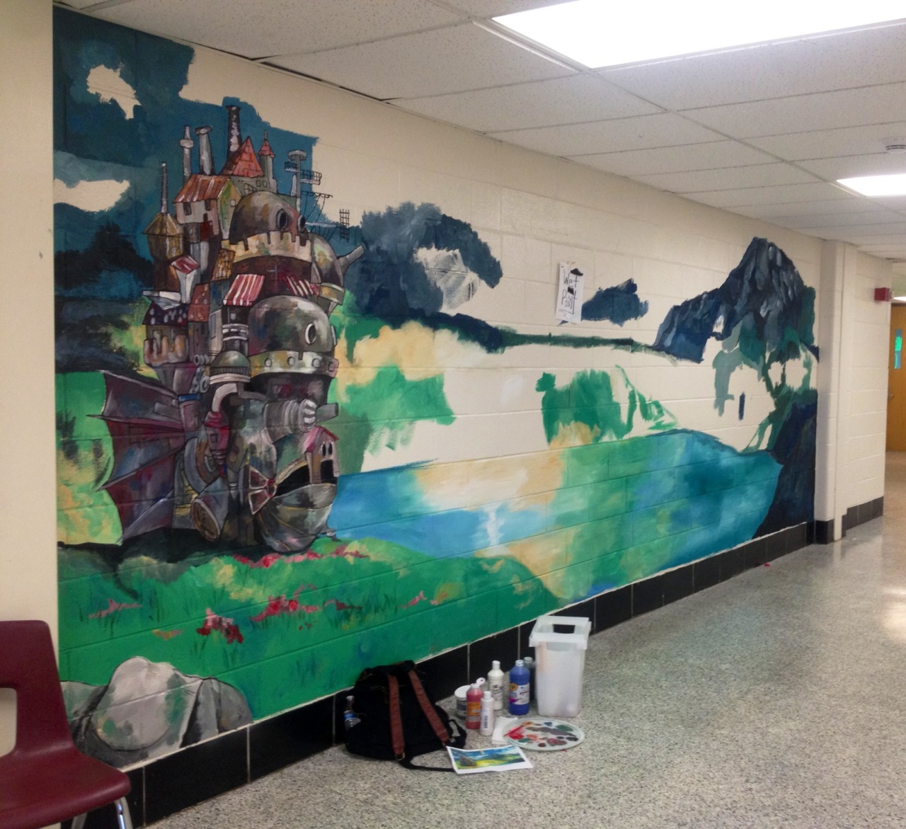 leviathanrose:  Day three of working on my Miyazaki mural at school!