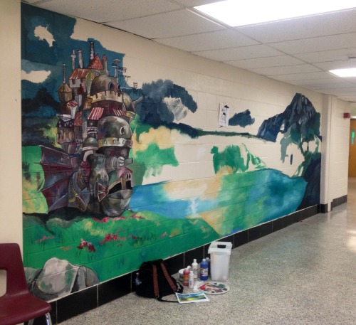 vanilla-alien:  leviathanrose:  Day three of working on my Miyazaki mural at school!   (;゜0゜)♡
