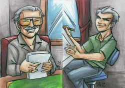 A commission for Stan Lee and Jack Kirby.  A pair of sketchcards, 2.5x3.5 inches each, ink and marker.