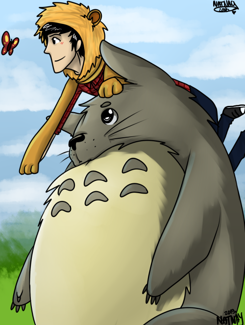 amazingphil:   Phil w/ Totoro | Requested by: ameliapondered  AMAZING :o<333