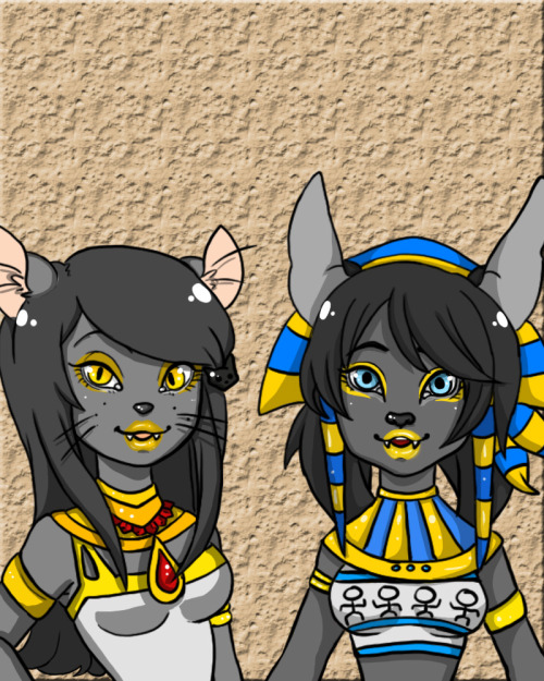 Monster High Ocs by Liz and I!Annie Bliss is mine. (Daughter of Anubis)And Bessie is Liz's. (Daughter of Bastet)  Enjoy!
