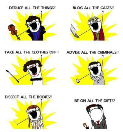 jcdesignuk:  Diets?Mycroft:) source:http://www.facebook.com/photo.php?fbid=506194606088244&set=a.416930185014687.93266.416927101681662&type=1&theater