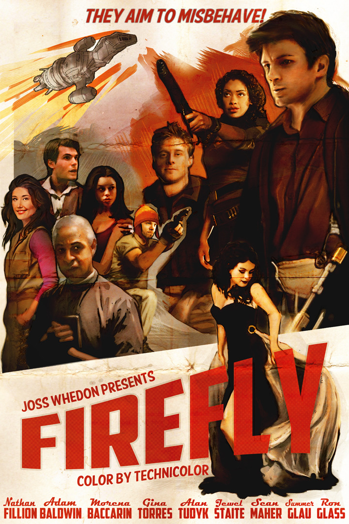 whatisleon:  What time is it? It's vintage-Firefly-movie-poster drawing time! So I finished it!! Just in time for Calgary expo. Oh man, I don't think I've spent a longer amount of time on a single drawing/painting EVER. I'm pretty well satisfied with how it turned out though! So many bitty details, you have to see it printed. It's pretty great.  Anyway, if you want to see a couple progress pics of this drawing, you can check it out here, or on my twitter (starting about here and going backwards). I didn't document the progress as well this time, probably because it took me like 3 weeks to finish it? I'll try better next time! xoxo